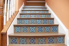Painted stairs - stair riser stencil with Tuscan Tile design - faux tile pattern with stencils from Royal Design Studio Wood Stair Treads, Stair Risers, Wood Stairs, Stair Steps, Foyers, Stair Makeover, Bright Decor, Painted Stairs, Stenciled Stairs