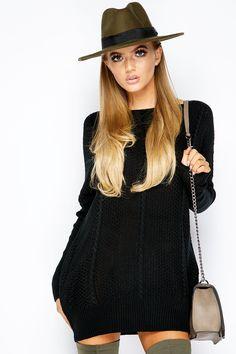 Clover Black Sparkle Knit Jumper Dress