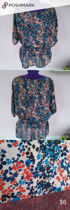 Floral Blouse Silky feel. Comfortable and cute top that is classy enough to wear to work. Xhilaration Tops