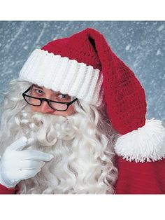 "Father Christmas Santa Curly Wavy White Beard 11/"" Mens Fancy Dress Accessory"
