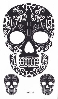 Sugar Skull Temporary Tattoo, Cinco De Mayo Black Henna Tattoos – MyBodiArt