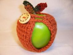 Handmade Crocheted Apple Cozy in Burnt Pumpkin with Fall Color Leaves  by BooBoosAttic for $6.00