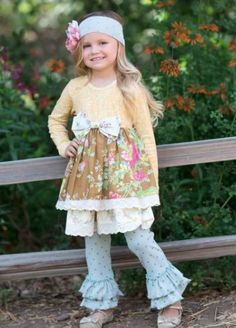 Giggle Moon Sea of Glass Maggie Dress w/Ruffle Leggings (PreOrder)