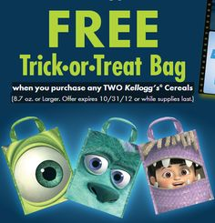 Free monsters inc trick or treat bag common sense with money more