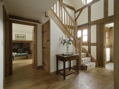 Halfpenny Cottage - Border Oak - oak framed houses, oak framed garages and struc. - Halfpenny Cottage – Border Oak – oak framed houses, oak framed garages and structures. House, Home, Border Oak, Oak Frame House, Staircase Design, Building A House, House Styles, House Inspiration, Cottage Interiors