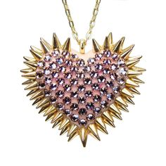 """Xirius"" Spiked & Pavèd Heart Necklace in Vintage Rose"