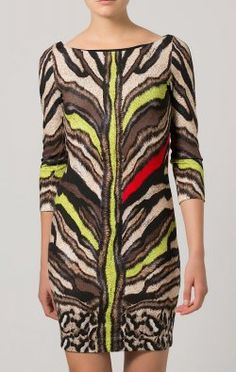 ROBERTO CAVALLI - Beige Animal Dress - Hire £69