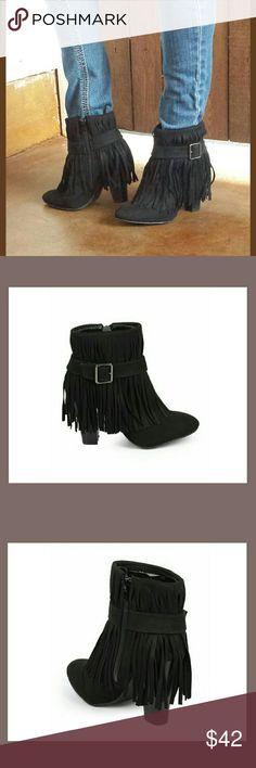 "🌟BLACK  FRINGE HEEL BUCKLE BOOTS🌟-📦 NIB📦 🌟Faux suede Fringe boots with a stacked heel ❤Non-skid soles 🌟Cushioned footbed with padded insole ❤Zippers on the inside of the boots 🌟Wrap-around Buckle over the Fringe ❤Heel 3.75"" 🌟Shaft with heel 7.5"" ❤Opening is 10"" 🌟These stunning boots are true to size🙌💖👌😙❤✌ BOTIQUE  Shoes Heeled Boots"
