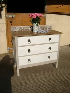 Edwardian Chest of Drawer/ Wash Stand, painted in Annie Sloan 'Country Grey' & 'Old White'