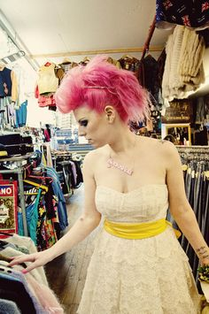 Punk Rock (n Roll) Bride. Pink hair. Vintage dress. Fauxhawk updo! Adorable. Sweet. Non-traditional. Unique. Alternative bride.