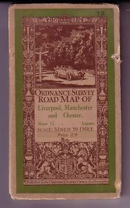 1930 Ordnance Survey Map - 'Liverpool, Manchester & Chester' 1/2 inch to 1 mile