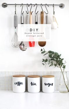Make these custom pantry jars apartment kitchen decorating, decorating small apartments, apartment Kitchen Storage Solutions, Diy Kitchen Storage, Storage Jars, Storage Ideas, Diy Storage, Food Storage, Wall Storage, Hanging Storage, Diy Kitchen Organization Ideas Budget