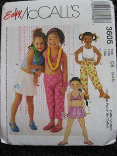 McCalls Childrens Girls Sewing Pattern 3605 Top by Vntgfindz