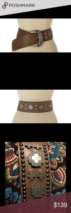 Double D Ranchwear Cristo Rey Hip / Waist Belt Double D Ranchwear - Cristo Rey Hip / Waist Belt (Brown) on their website for $328 A stunning leather belt with edgy, Double D Ranchwear style. Nail-head trim. Metal cross embellishments. Buckle closure with cross design. Leather and textiles.  Measurements: ; Width: 2-1/4 in ; First Hole Length: 37 in ; Last Hole Length: 39.25 in ; Product measurements were taken using this exact belt.   I purchased in a Steamboat, Colorado Boutique. Double D…