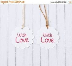 With Love Gift Tag 1 3/4 inch 4.5cm