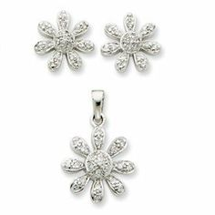 Sterling Silver CZ Flower Pendant and Earring Set - JewelryWeb JewelryWeb. $43.30. Save 50% Off!