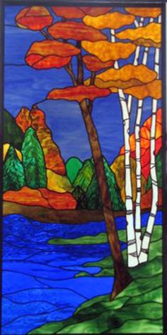 Beautiful stained glass - river