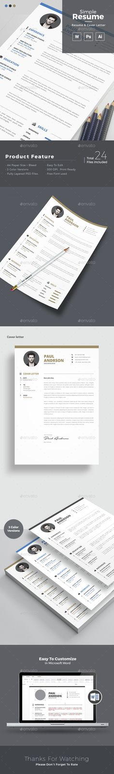 Simple Resume Template PSD, Vector AI. Download here: http://graphicriver.net/item/simple-resume/14695533?ref=ksioks