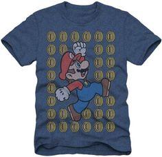Nintendo Super Mario Bros Coin Men's Heathered Blue T-shirt (Medium) - #blue, #tshirt, Bros, coin, Heathered, Mario, Medium, Men's, nintendo, Super