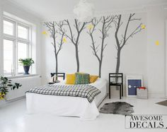 Winter Trees Decal - FREE SHIPPING -  Winter tree wall decal  - LARGE tree decal -  065