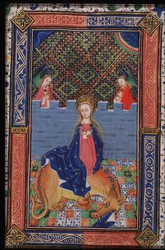 "Dr. Zweder Masters on Twitter: ""Saint Margaret in an enclosed garden (?) with angels. THe Hague, KB, ms. 76 f 7, fol. 33v https://t.co/c2ZV3uOYPX"""