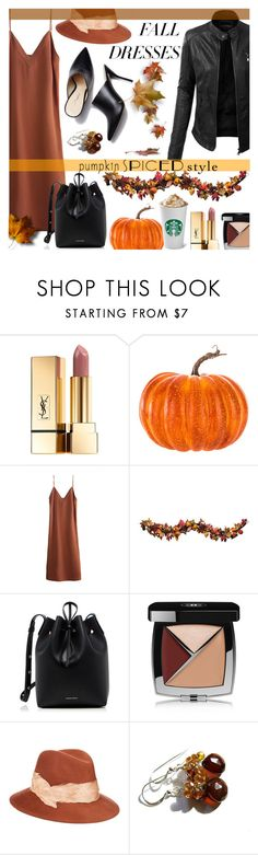 """Pumpkin spiced style"" by ela79 ❤ liked on Polyvore featuring LE3NO, Yves Saint Laurent, Improvements, Mansur Gavriel, Chanel and Eugenia Kim"