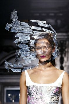 Stephen Jones shattered-glass headpiece for Giles Spring 2013