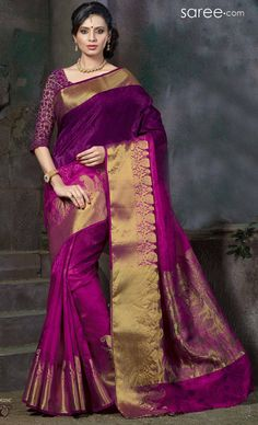 MAGENTA ART SILK SAREE WITH WEAVING WORK