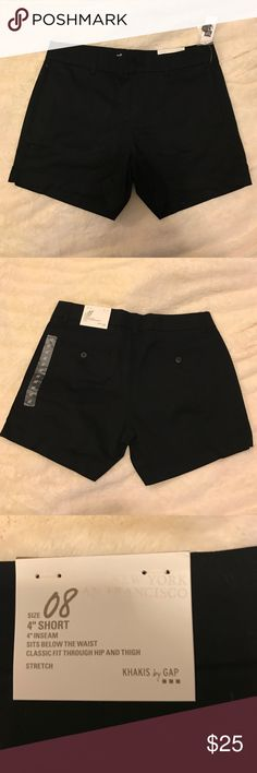 """🔷NWT black GAP 4"""" chino shorts NWT black GAP 4"""" chino shorts. Sits below the waist and has a classic fit in the hips and thighs GAP Shorts"""