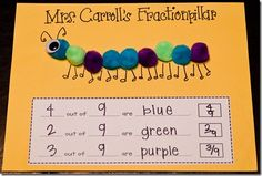 Fractions in Action. For this activity, you'll need construction paper, pom poms {or multi colored stickers} and the printable (free via link). Have your kids choose three different colors to create their own fraction caterpillar. They can add googly eyes, antennae, and legs, too!! Once they're finished with the creating piece, they will record the fractions for each color of their caterpillar.