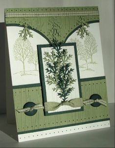 card with SU Lovely as a Tree stamp and Martha Stewart punch