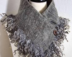 Beautiful Merino Wool and Tussah Silk Wet Felted Scarf Neck