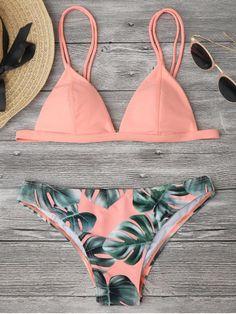 Fashion Women Sexy Bikini Leaf Printed Split Bikini Set For Summer Beach Swimsuit Bathing Suit Swimwear - Pink Sexy Bikini, Bikini Swimwear, Micro Swimwear, Triangle Swimwear, Sporty Swimwear, Bikini 2018, Plus Size Swimwear, Push Up Bikini, Cute Swimsuits