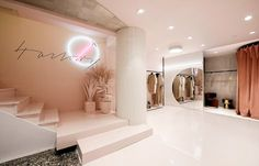 View the full picture gallery of Boutique Lobby Interior, Boutique Interior, Office Interior Design, Boutique Design, Pastel Interior, Beauty Salon Decor, Dressing Room Design, Spa Design, Retail Design