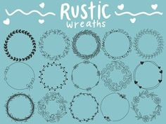 FLORAL WREATHS hand-drawn wreaths doodle clipart floral