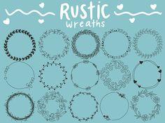 FLORAL WREATHS hand-drawn wreaths doodle clipart floral