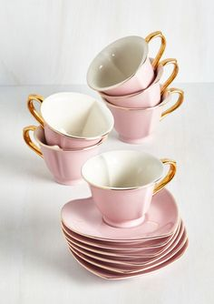 Pastel Pink & White Heart-shaped Tea Set with Gilt ....