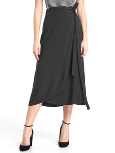 Stitch fix!! I have this skirt but nothing to wear with it!! Please help! Midi wrap skirt. | Gap
