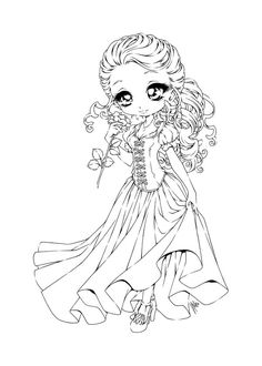 Curly Haired Girl Lineart by YamPuff.deviantart.com on
