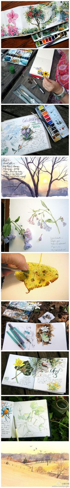 Great way to carry your water colors with you outside and use a book to paint…