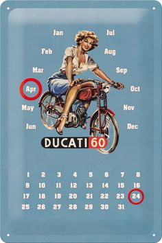 Ducati Pin up Kalender Emaille bord