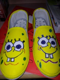 Sponge bob canvas shoes Mum made for my Christmas present