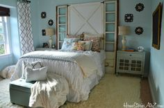 Chic master bedroom makeover with loads of DIY tips on decorating your bedroom by @Beth Hunter HomeStoriesAtoZ.com