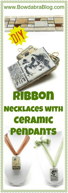 Mother's Day Ribbon Necklaces with Ceramic Pendants