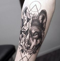 Mens Geometrical Wolf Tattoo On Forearm