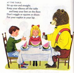 Golden Book of Manners, Richard Scarry, 1962- Dinner