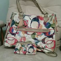 Coach poppy stamped C Hallie tote with wallet The bag is NWT and the matching wallet is NWOT Coach Accessories