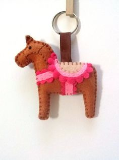 Plush Horse keychain  Felt Brown horse charm by DusiCrafts on Etsy