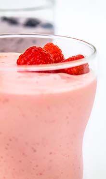 Raspberry Milk Shake 1⁄2   c  low-fat milk 1⁄2   c  frozen raspberries 1   tbsp  honey 2   c  reduced-fat vanilla ice cream