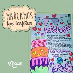 Marcamos tus tarjetas completamente personalizadas #Migas #FábricadeSueños #Tarjetas #Love Drawing School, School Notes, Boyfriend Gifts, Boxing, Special Gifts, Picnic, Lettering, Drawings, Frases